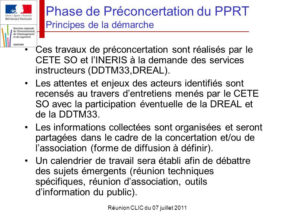 Réunion CLIC du 07 juillet 2011 Phase de Préconcertation du PPRT Principes de la démarche Ces travaux de préconcertation sont réalisés par le CETE SO