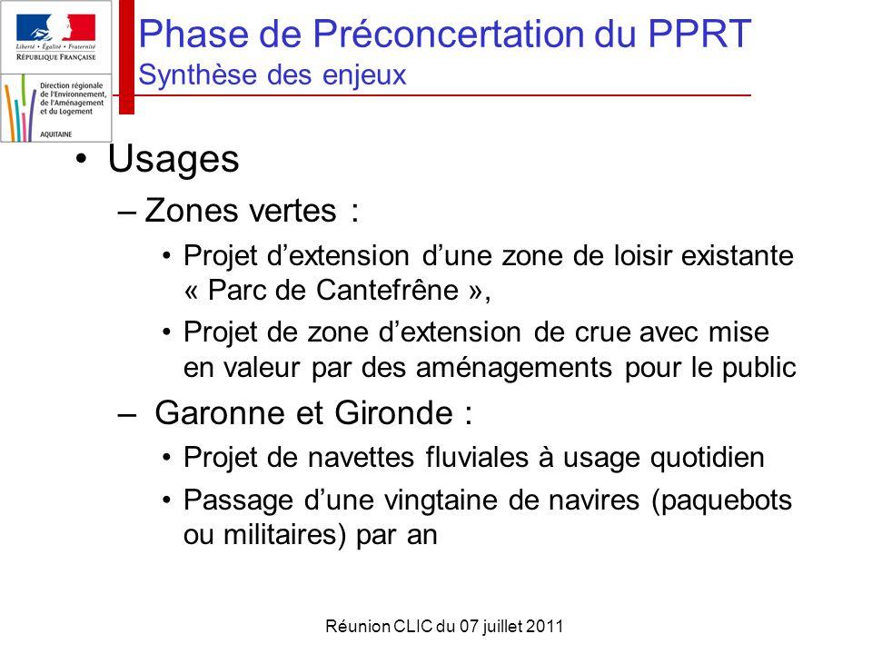 Réunion CLIC du 07 juillet 2011 Phase de Préconcertation du PPRT Synthèse des enjeux Usages –Zones vertes : Projet d'extension d'une zone de loisir ex