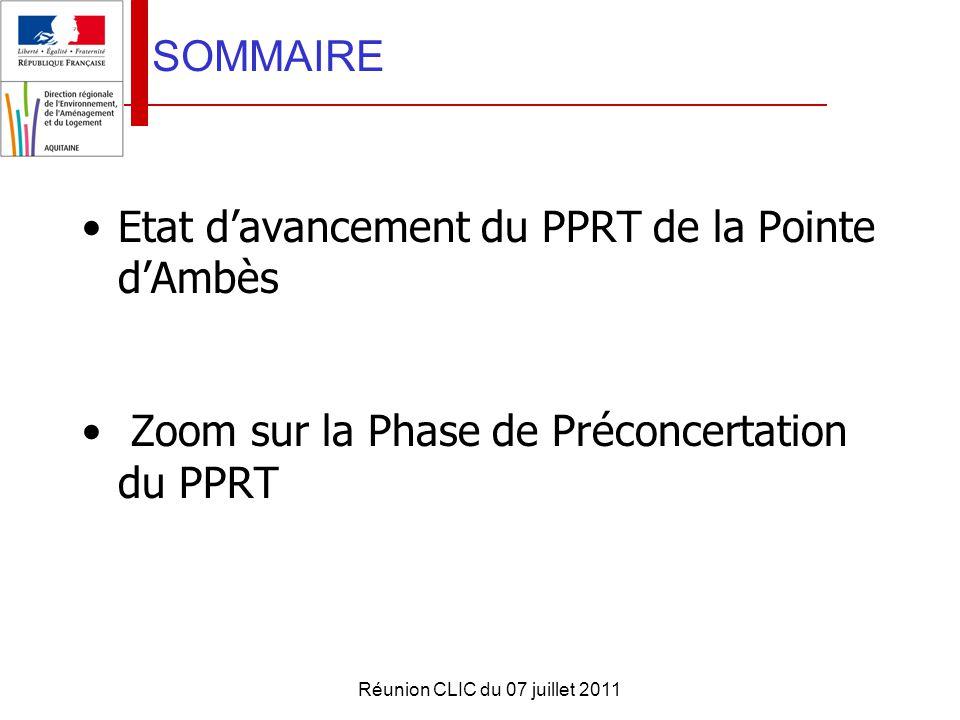 Réunion CLIC du 07 juillet 2011 MERCI DE VOTRE ATTENTION PPRT de AMBES PLAN DE PREVENTION DES RISQUES TECHNOLOGIQUES