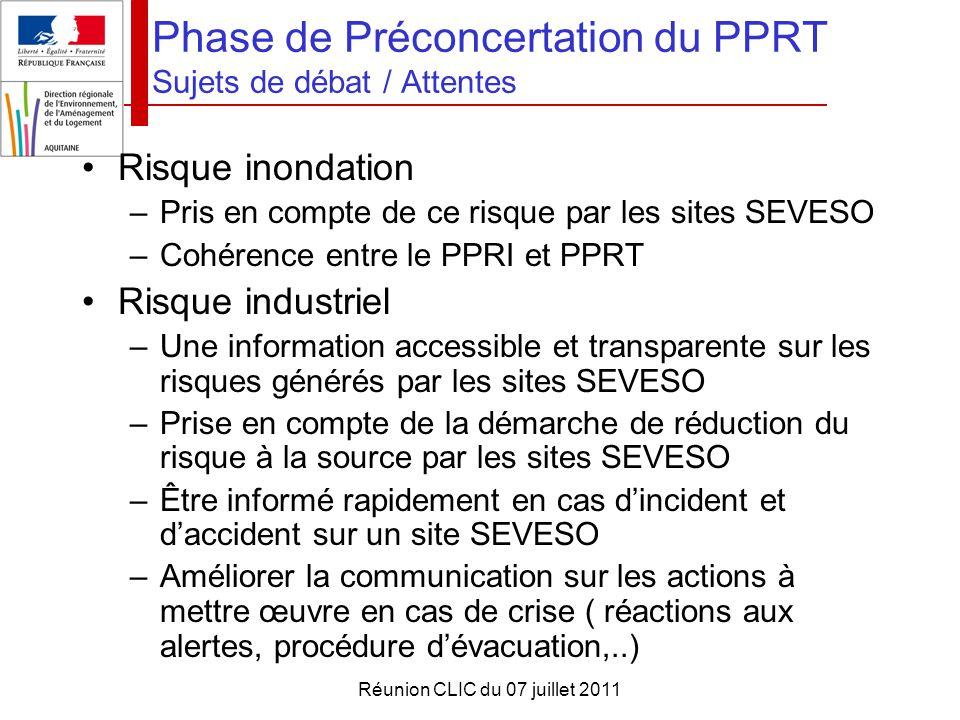 Réunion CLIC du 07 juillet 2011 Phase de Préconcertation du PPRT Sujets de débat / Attentes Risque inondation –Pris en compte de ce risque par les sit