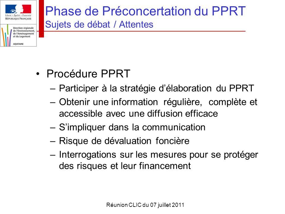 Réunion CLIC du 07 juillet 2011 Phase de Préconcertation du PPRT Sujets de débat / Attentes Procédure PPRT –Participer à la stratégie d'élaboration du