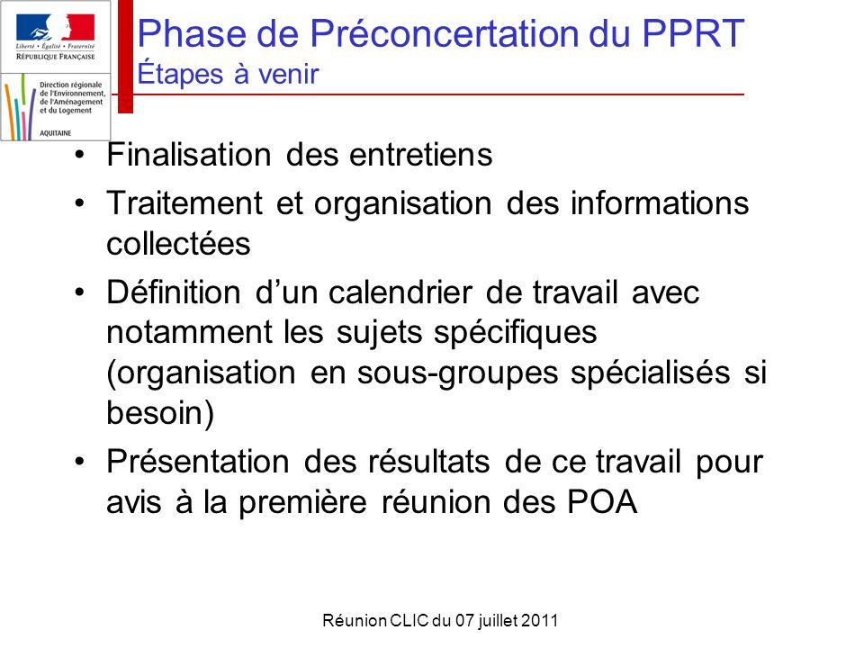 Réunion CLIC du 07 juillet 2011 Phase de Préconcertation du PPRT Étapes à venir Finalisation des entretiens Traitement et organisation des information