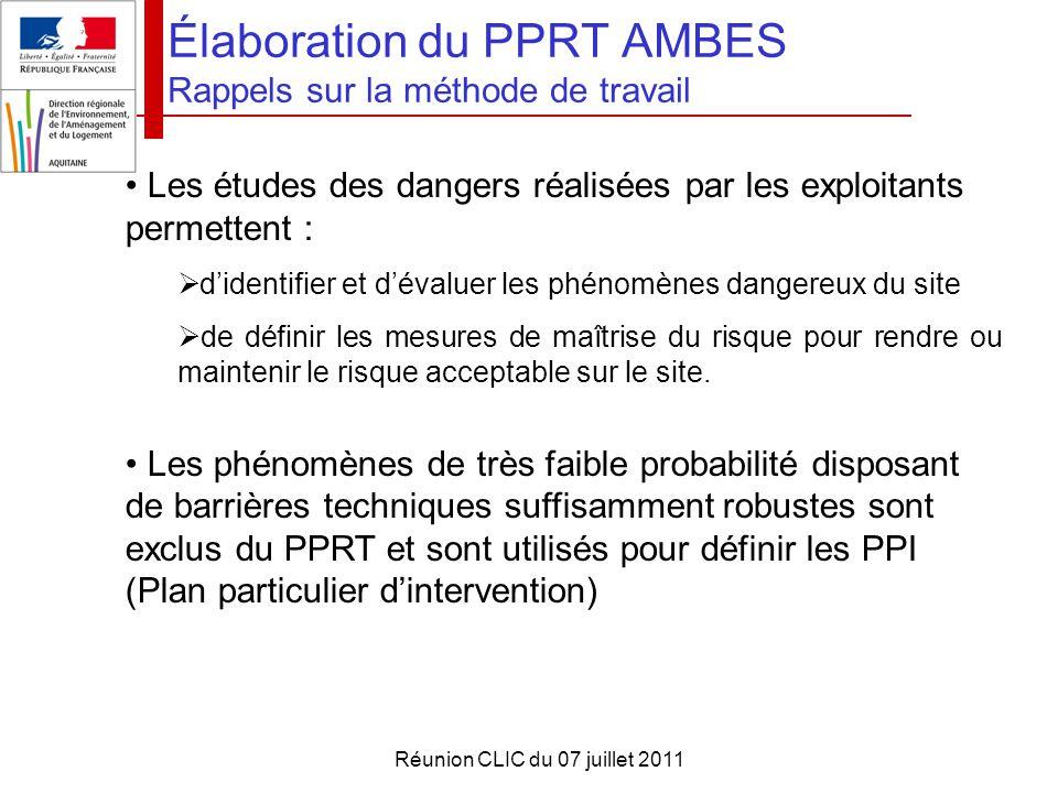 Réunion CLIC du 07 juillet 2011 Élaboration du PPRT AMBES Rappels sur la méthode de travail Les études des dangers réalisées par les exploitants perme