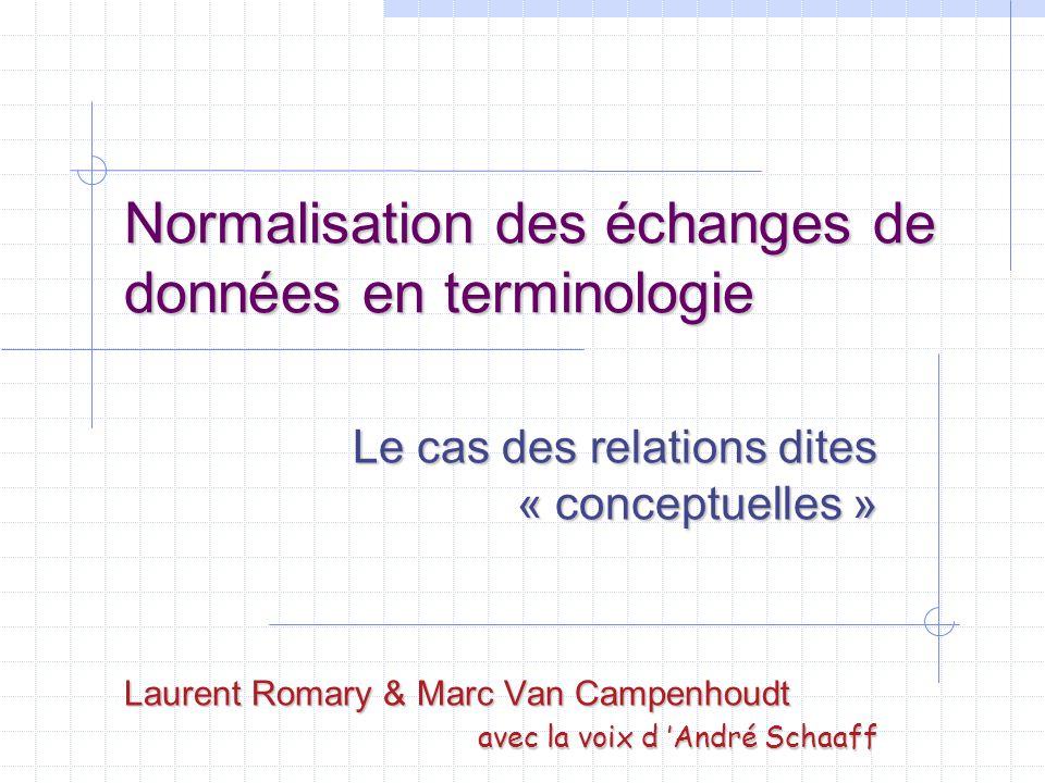 Normalisation des échanges de données en terminologie Le cas des relations dites « conceptuelles » Laurent Romary & Marc Van Campenhoudt avec la voix