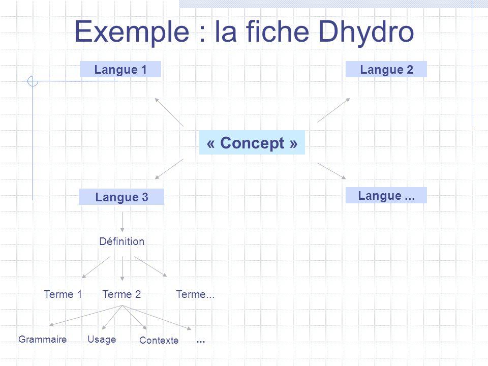 Langue 1Langue 2 Langue 3 Définition Terme 1Terme 2Terme... UsageGrammaire Contexte... « Concept » Langue... Exemple : la fiche Dhydro