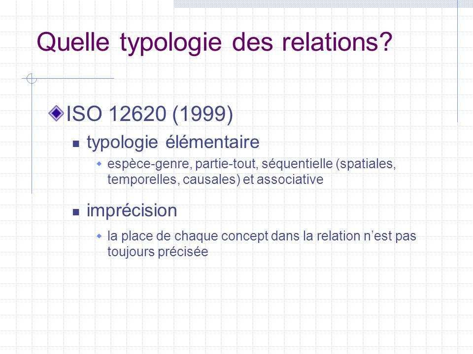 Quelle typologie des relations? ISO 12620 (1999) typologie élémentaire  espèce-genre, partie-tout, séquentielle (spatiales, temporelles, causales) et