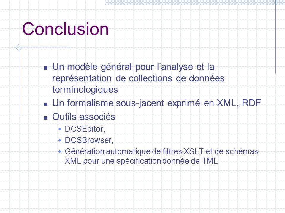 Conclusion Un modèle général pour l'analyse et la représentation de collections de données terminologiques Un formalisme sous-jacent exprimé en XML, R