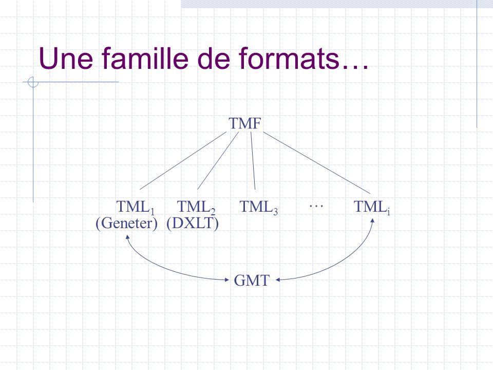 Une famille de formats… TMF TML 1 TML 2 TML 3 TML i … (DXLT)(Geneter) GMT