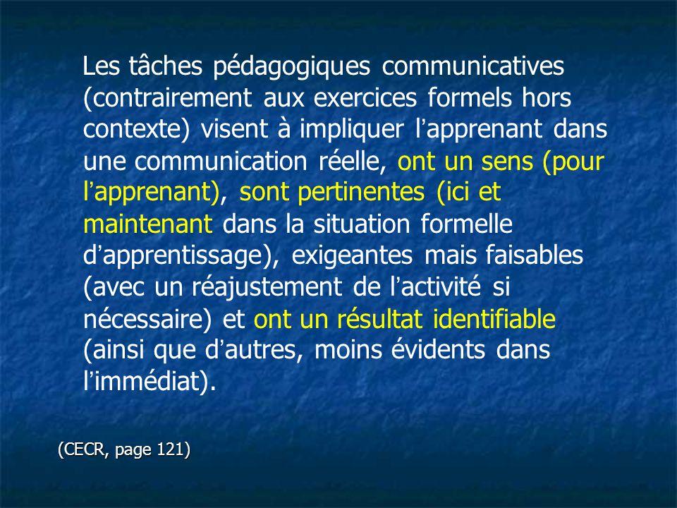 Les tâches pédagogiques communicatives (contrairement aux exercices formels hors contexte) visent à impliquer l'apprenant dans une communication réell