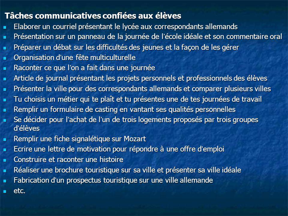 Tâches communicatives confiées aux élèves Tâches communicatives confiées aux élèves Elaborer un courriel présentant le lycée aux correspondants allema