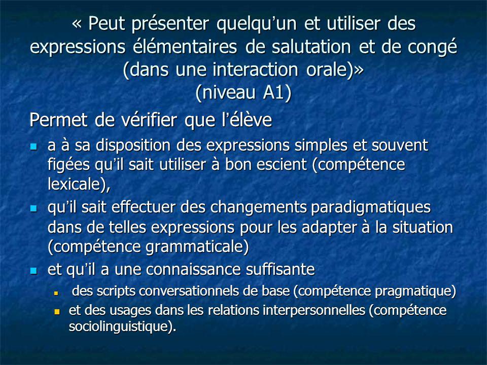 « Peut présenter quelqu'un et utiliser des expressions élémentaires de salutation et de congé (dans une interaction orale)» (niveau A1) Permet de véri
