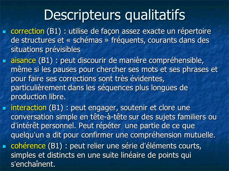 Descripteurs qualitatifs correction (B1) : utilise de façon assez exacte un répertoire de structures et « schémas » fréquents, courants dans des situa