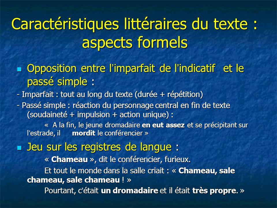 Caractéristiques littéraires du texte : aspects formels Opposition entre l'imparfait de l'indicatif et le passé simple : Opposition entre l'imparfait
