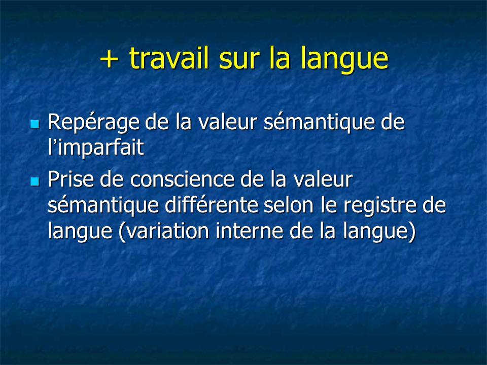 + travail sur la langue Repérage de la valeur sémantique de l'imparfait Repérage de la valeur sémantique de l'imparfait Prise de conscience de la vale