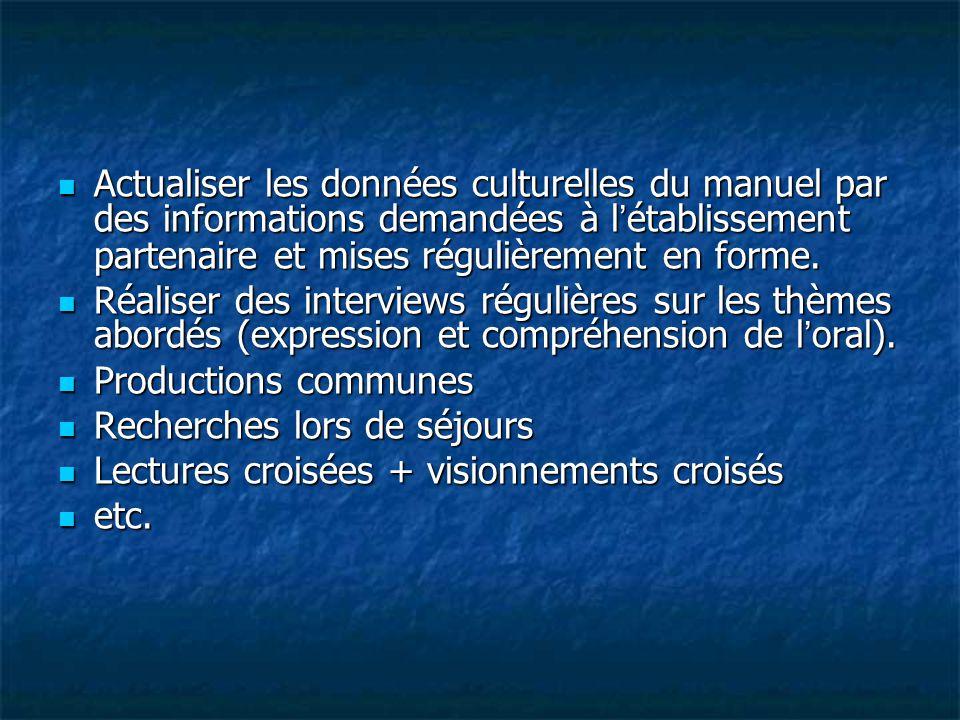 Actualiser les données culturelles du manuel par des informations demandées à l'établissement partenaire et mises régulièrement en forme. Actualiser l