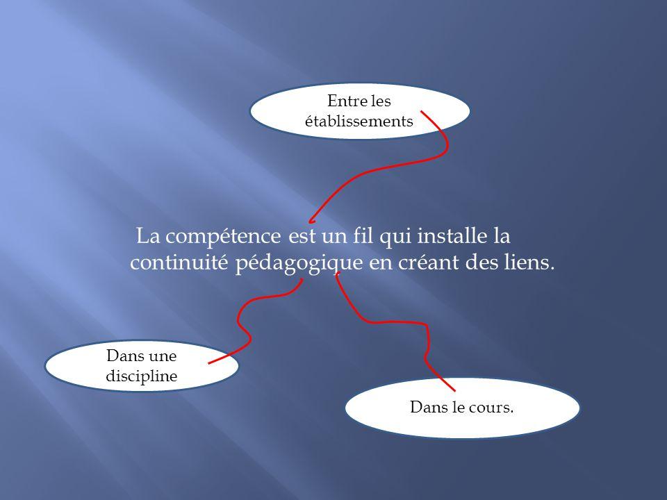 La compétence est un fil qui installe la continuité pédagogique en créant des liens. Entre les établissements Dans une discipline Dans le cours.