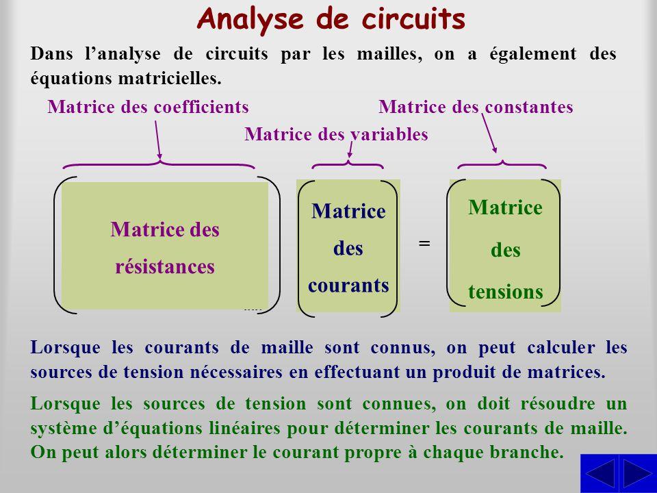 Analyse de circuits Matrice des coefficients Matrice des variables Matrice des constantes =......