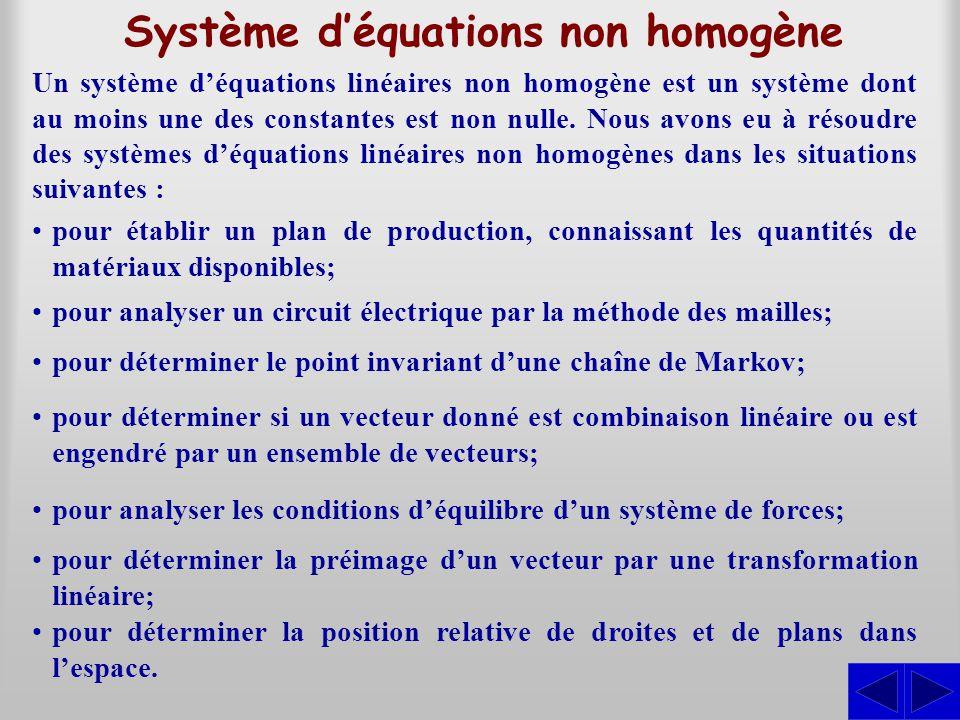 Système d'équations non homogène Un système d'équations linéaires non homogène est un système dont au moins une des constantes est non nulle.
