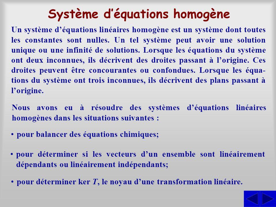 Système d'équations homogène Un système d'équations linéaires homogène est un système dont toutes les constantes sont nulles.