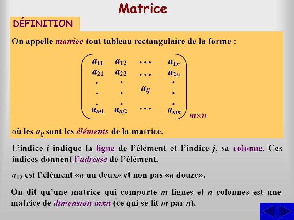 DÉFINITION Opérations sur les matrices Soit A = (a ij ) et B = (b ij ), deux matrices de même dimension m  n.