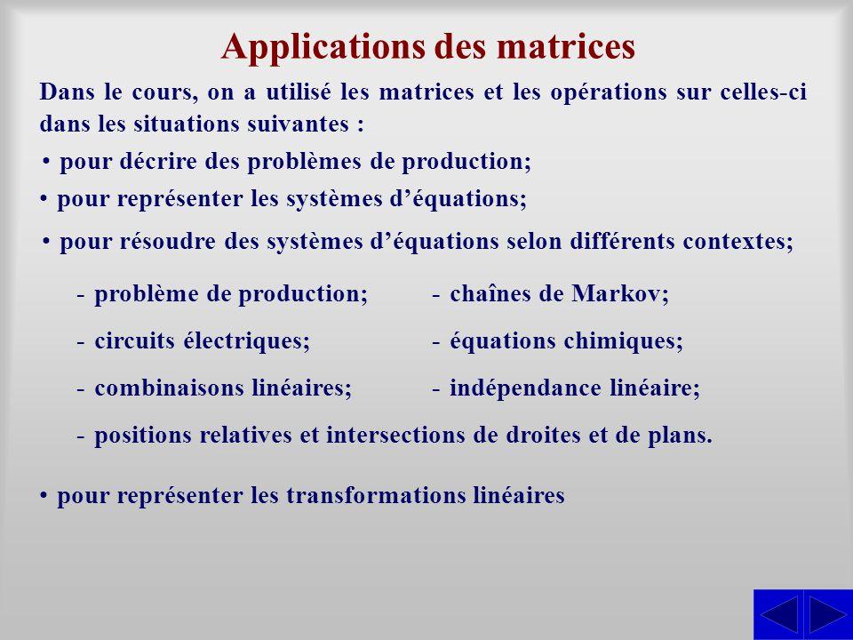 Applications des matrices Dans le cours, on a utilisé les matrices et les opérations sur celles-ci dans les situations suivantes : pour décrire des problèmes de production; pour représenter les systèmes d'équations; pour résoudre des systèmes d'équations selon différents contextes; pour représenter les transformations linéaires -problème de production;-chaînes de Markov; -circuits électriques;-équations chimiques; -combinaisons linéaires;-indépendance linéaire; -positions relatives et intersections de droites et de plans.