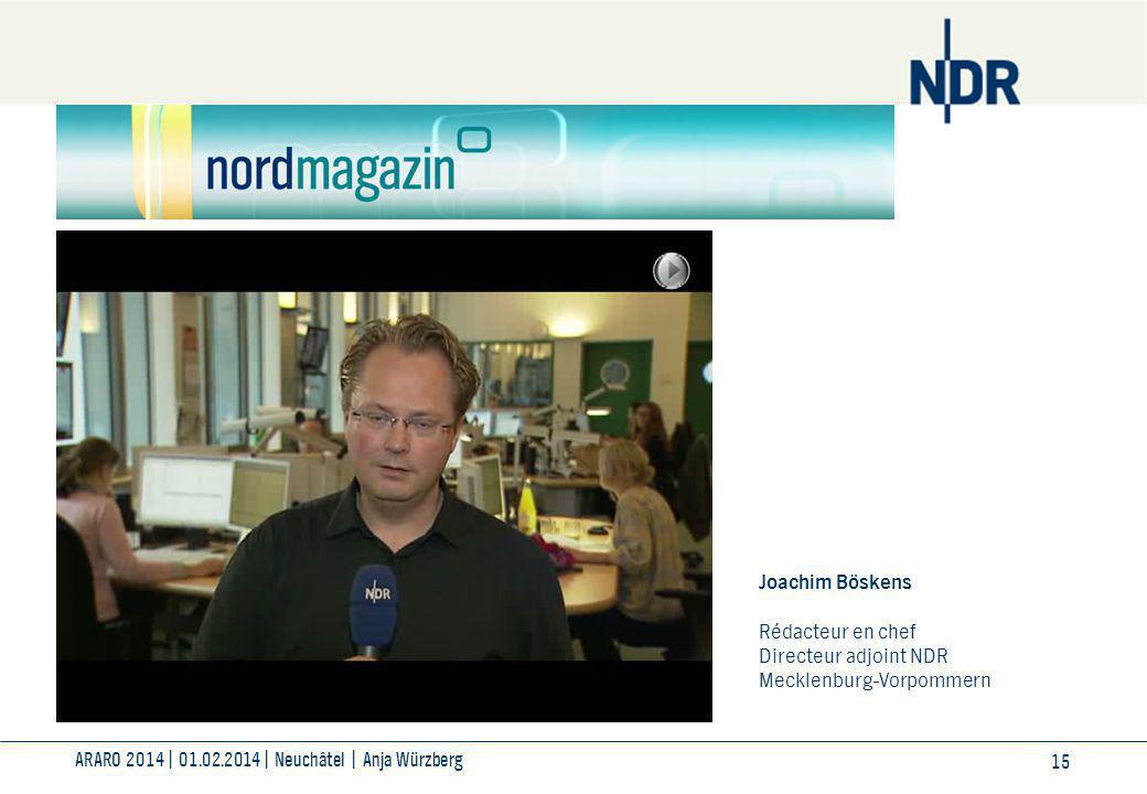 ARARO 2014| 01.02.2014| Neuchâtel | Anja Würzberg 15 Joachim Böskens Rédacteur en chef Directeur adjoint NDR Mecklenburg-Vorpommern