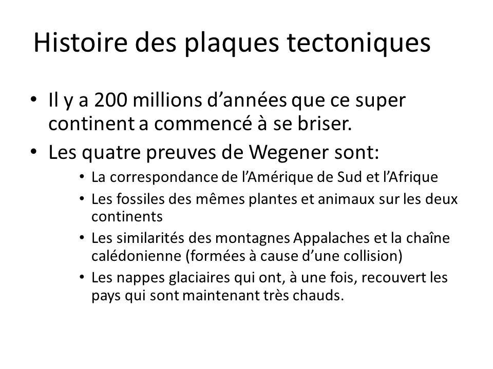 Histoire des plaques tectoniques Il y a 200 millions d'années que ce super continent a commencé à se briser. Les quatre preuves de Wegener sont: La co