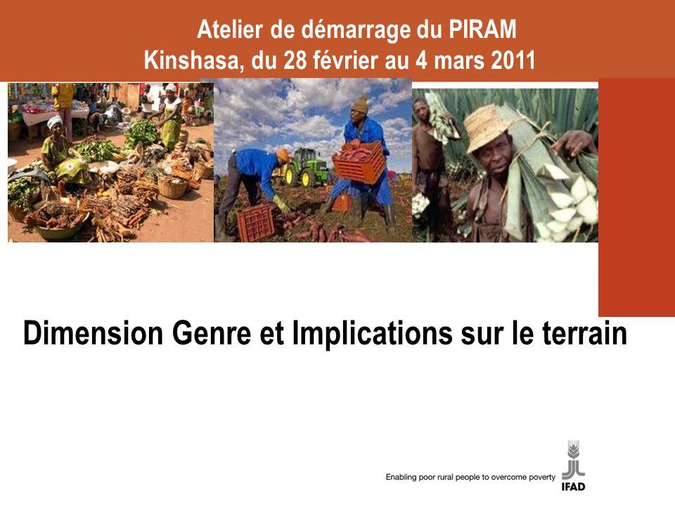 Dimension Genre et Implications sur le terrain Atelier de démarrage du PIRAM Kinshasa, du 28 février au 4 mars 2011