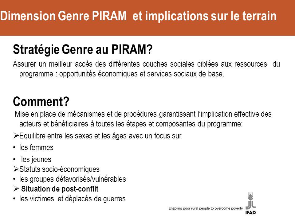 Dimension Genre PIRAM et implications sur le terrain Stratégie Genre au PIRAM.