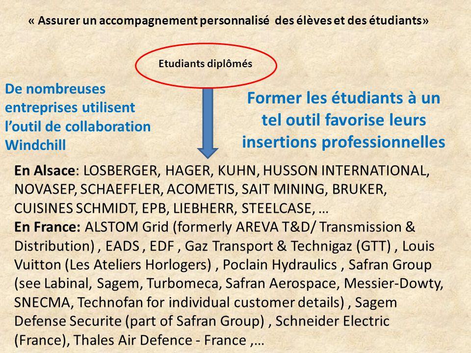 En Alsace: LOSBERGER, HAGER, KUHN, HUSSON INTERNATIONAL, NOVASEP, SCHAEFFLER, ACOMETIS, SAIT MINING, BRUKER, CUISINES SCHMIDT, EPB, LIEBHERR, STEELCASE, … En France: ALSTOM Grid (formerly AREVA T&D/ Transmission & Distribution), EADS, EDF, Gaz Transport & Technigaz (GTT), Louis Vuitton (Les Ateliers Horlogers), Poclain Hydraulics, Safran Group (see Labinal, Sagem, Turbomeca, Safran Aerospace, Messier-Dowty, SNECMA, Technofan for individual customer details), Sagem Defense Securite (part of Safran Group), Schneider Electric (France), Thales Air Defence - France,… Former les étudiants à un tel outil favorise leurs insertions professionnelles Etudiants diplômés De nombreuses entreprises utilisent l'outil de collaboration Windchill « Assurer un accompagnement personnalisé des élèves et des étudiants»