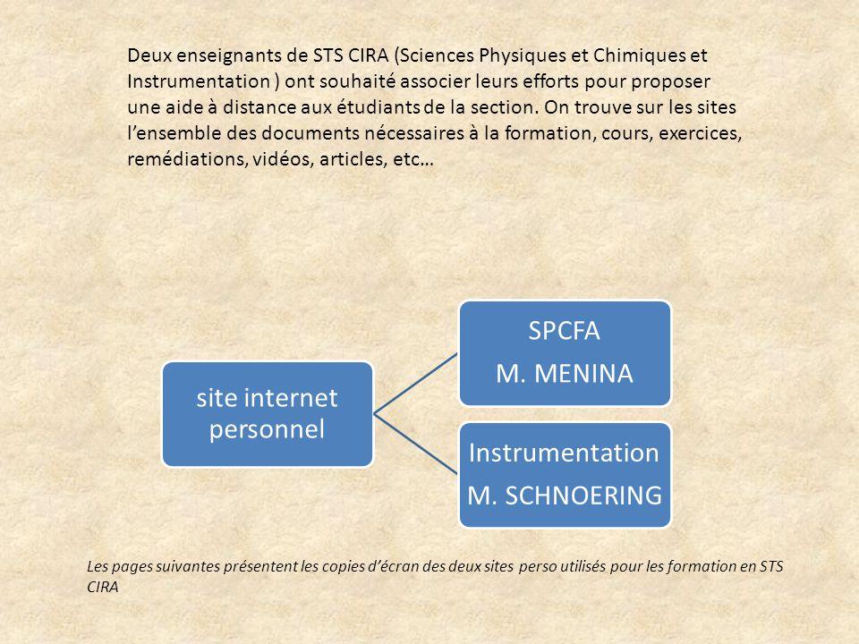 site internet personnel SPCFA M. MENINA Instrumentation M. SCHNOERING Deux enseignants de STS CIRA (Sciences Physiques et Chimiques et Instrumentation