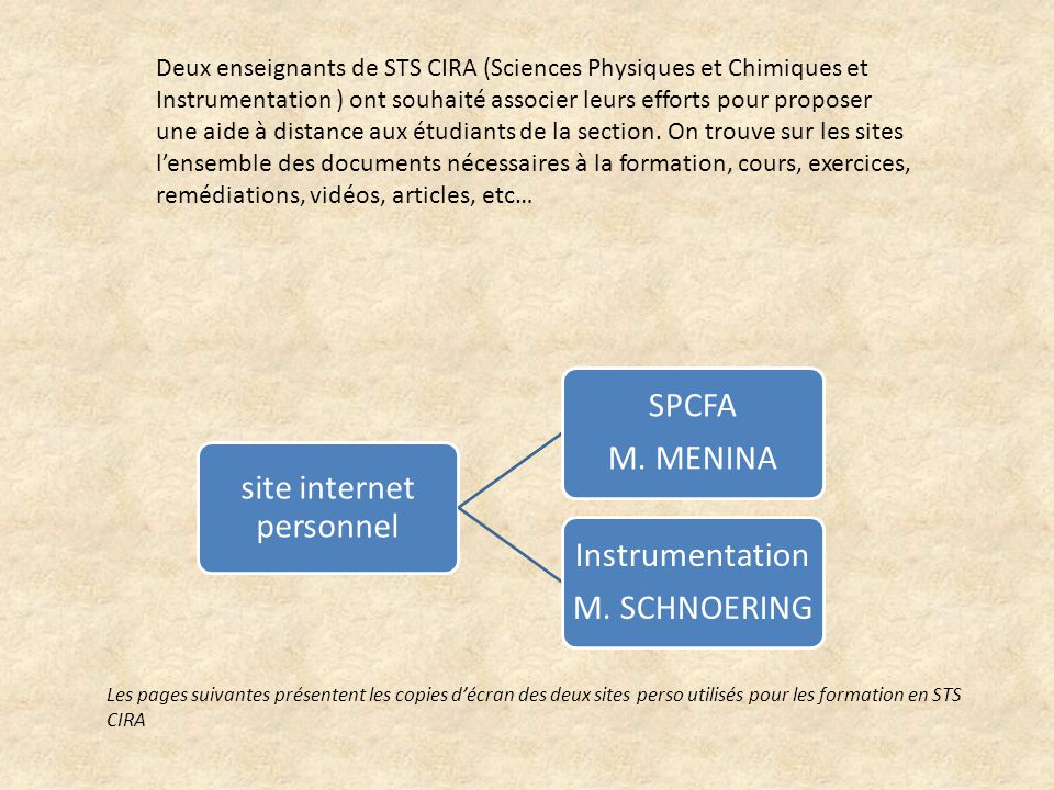 site internet personnel SPCFA M. MENINA Instrumentation M.