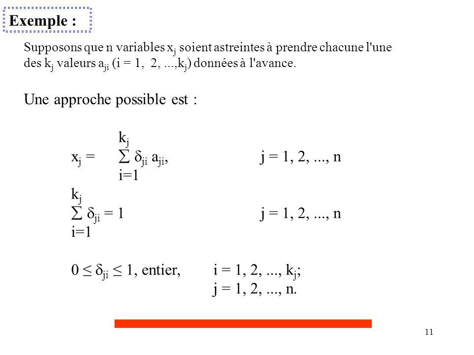 11 Exemple : Supposons que n variables x j soient astreintes à prendre chacune l'une des k j valeurs a ji (i = 1, 2,...,k j ) données à l'avance. Une