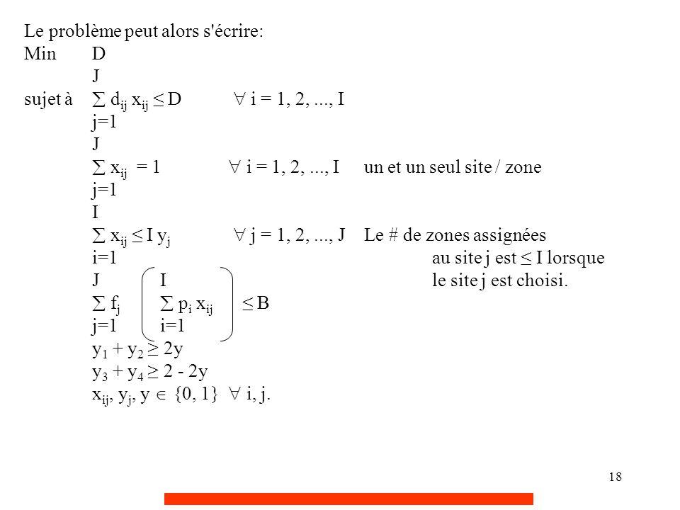 18 Le problème peut alors s'écrire: MinD J sujet à  d ij x ij ≤ D  i = 1, 2,..., I j=1 J  x ij = 1  i = 1, 2,..., I un et un seul site / zone j=1