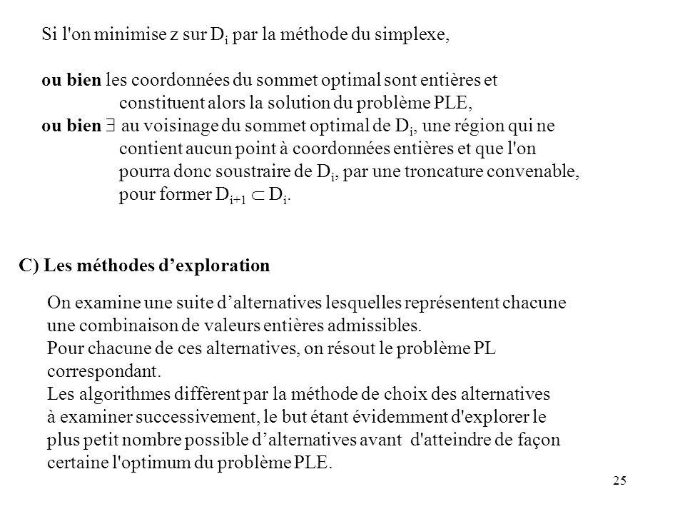 25 Si l'on minimise z sur D i par la méthode du simplexe, ou bien les coordonnées du sommet optimal sont entières et constituent alors la solution du