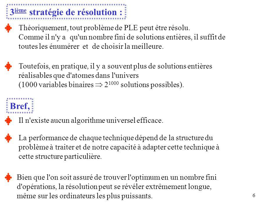 6 3 ième stratégie de résolution : Théoriquement, tout problème de PLE peut être résolu. Comme il n'y a qu'un nombre fini de solutions entières, il su