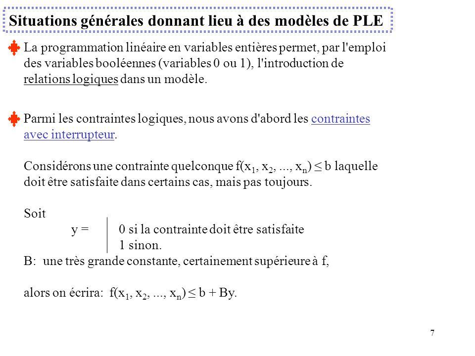 7 Situations générales donnant lieu à des modèles de PLE La programmation linéaire en variables entières permet, par l'emploi des variables booléennes