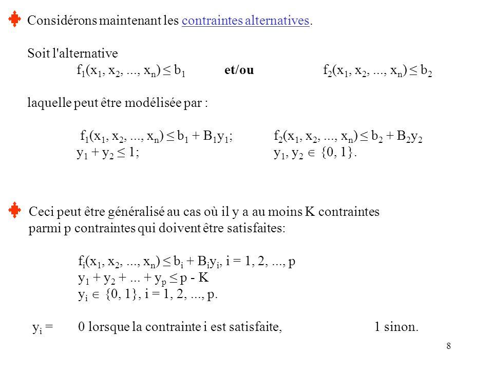 8 Considérons maintenant les contraintes alternatives. Soit l'alternative f 1 (x 1, x 2,..., x n ) ≤ b 1 et/ou f 2 (x 1, x 2,..., x n ) ≤ b 2 laquelle