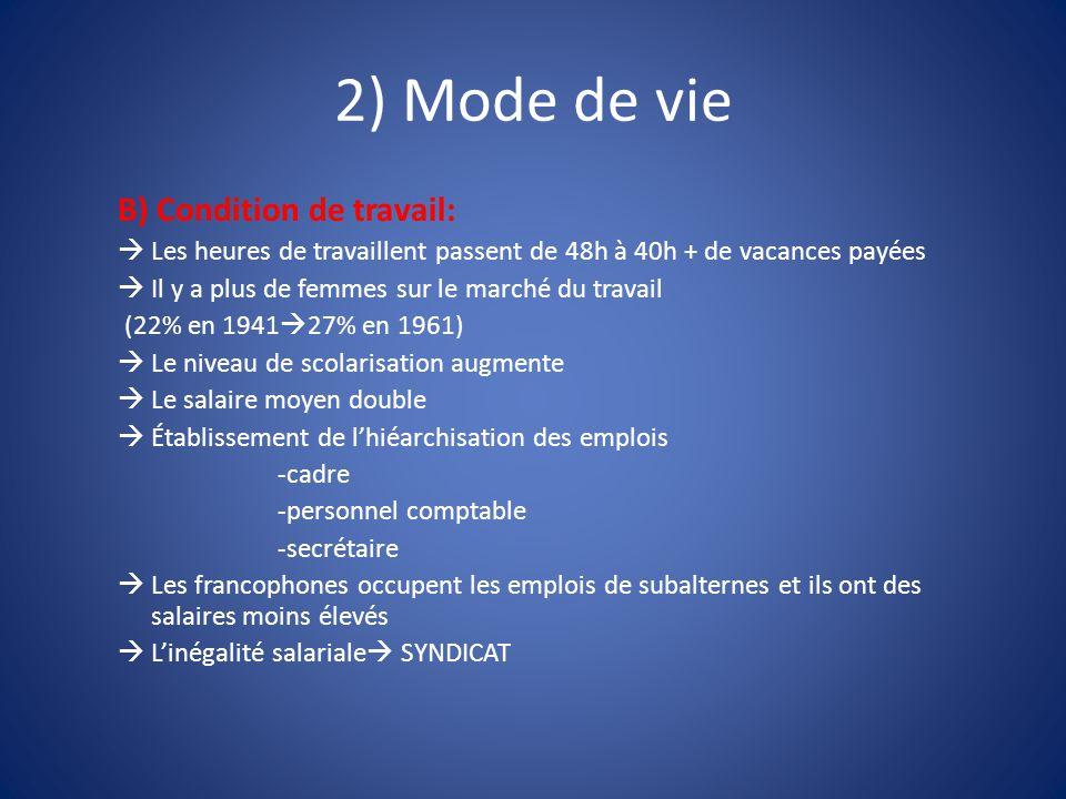 2) Mode de vie B) Condition de travail:  Les heures de travaillent passent de 48h à 40h + de vacances payées  Il y a plus de femmes sur le marché du