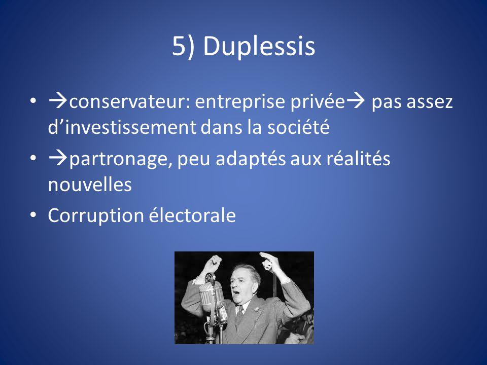5) Duplessis  conservateur: entreprise privée  pas assez d'investissement dans la société  partronage, peu adaptés aux réalités nouvelles Corruptio