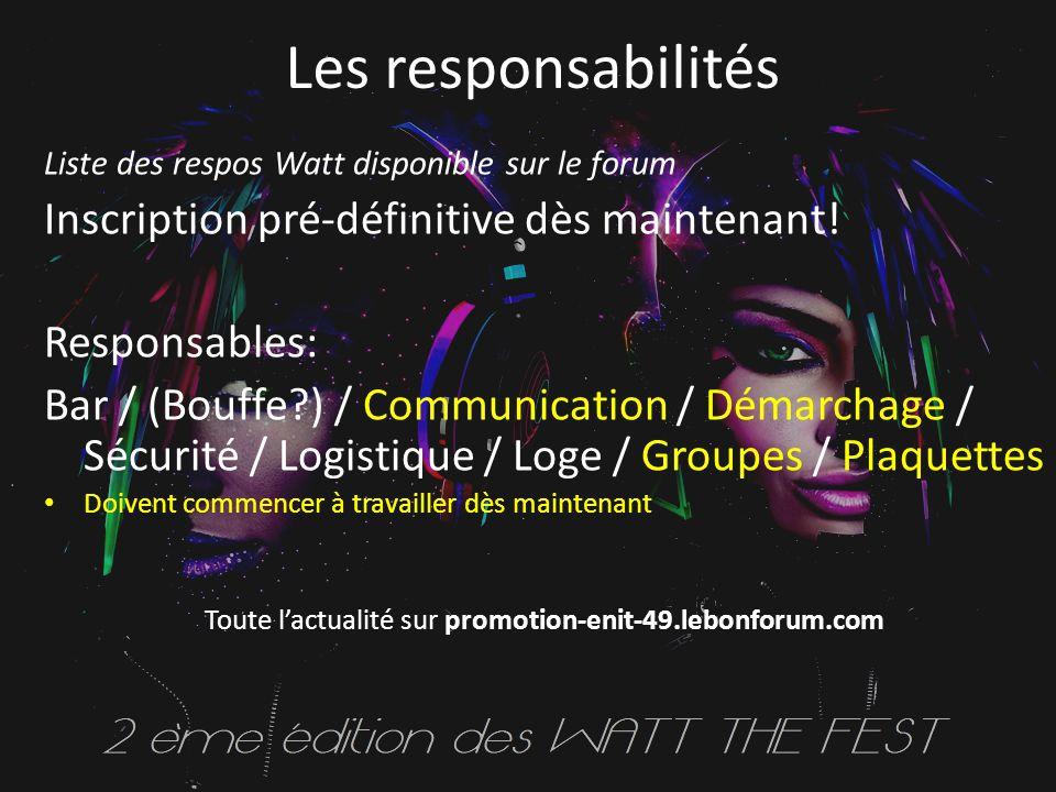 Les responsabilités Liste des respos Watt disponible sur le forum Inscription pré-définitive dès maintenant.