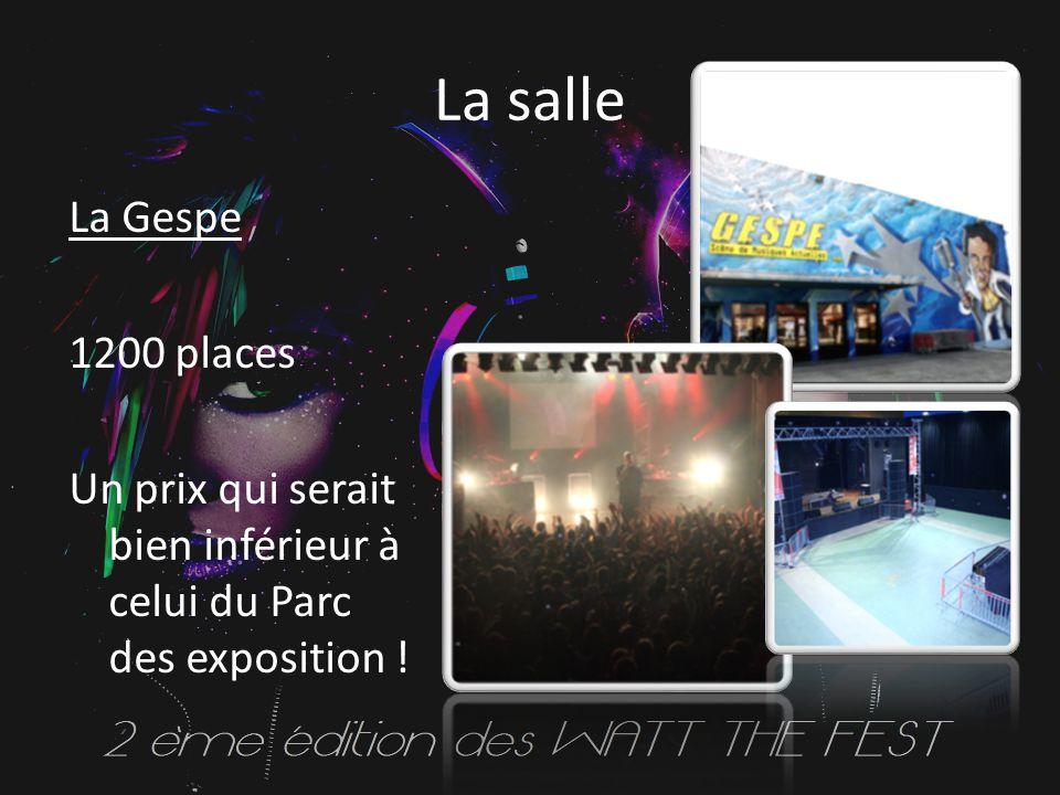 La salle La Gespe 1200 places Un prix qui serait bien inférieur à celui du Parc des exposition !