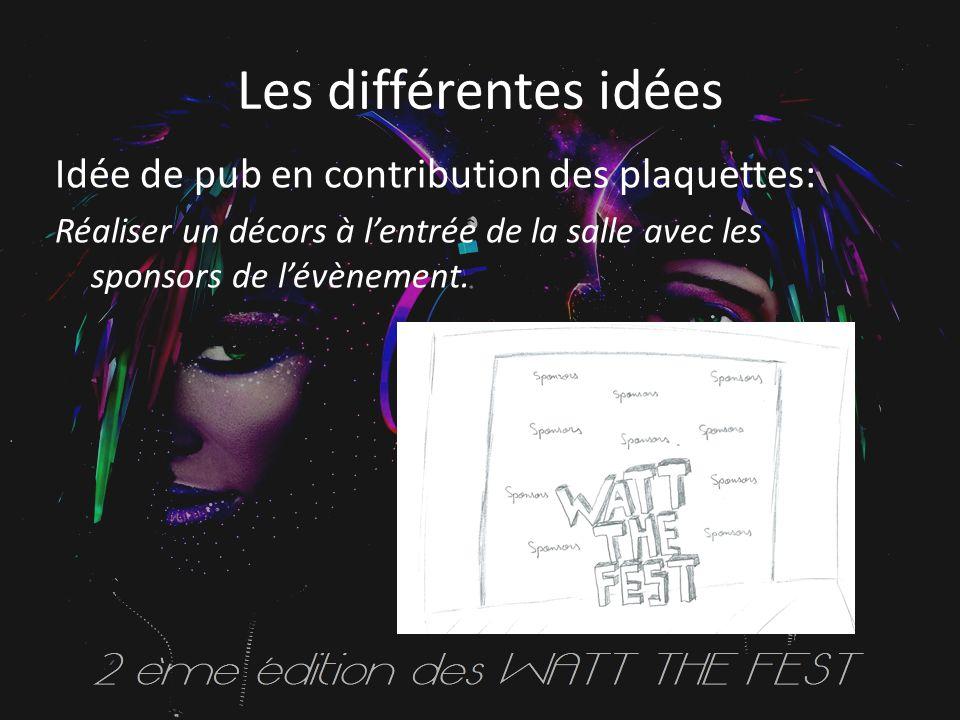 Les différentes idées Idée de pub en contribution des plaquettes: Réaliser un décors à l'entrée de la salle avec les sponsors de l'évènement.