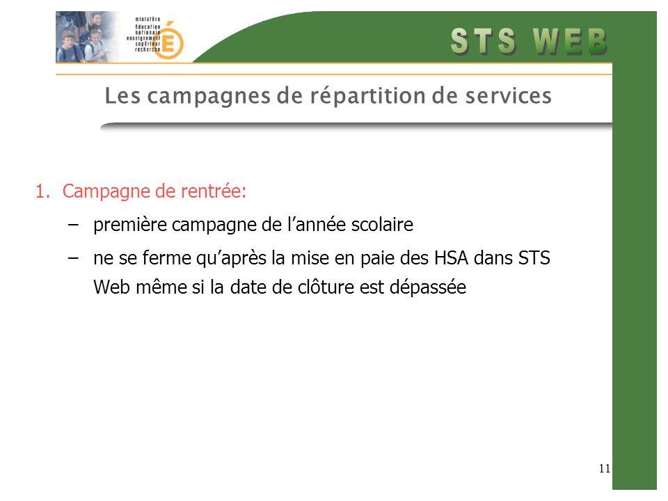 11 Les campagnes de répartition de services 1.Campagne de rentrée: –première campagne de l'année scolaire –ne se ferme qu'après la mise en paie des HSA dans STS Web même si la date de clôture est dépassée