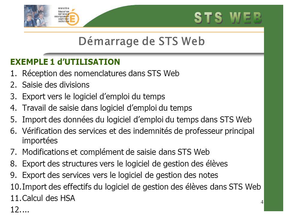 4 Démarrage de STS Web EXEMPLE 1 d'UTILISATION 1.Réception des nomenclatures dans STS Web 2.Saisie des divisions 3.Export vers le logiciel d'emploi du temps 4.Travail de saisie dans logiciel d'emploi du temps 5.Import des données du logiciel d'emploi du temps dans STS Web 6.Vérification des services et des indemnités de professeur principal importées 7.Modifications et complément de saisie dans STS Web 8.Export des structures vers le logiciel de gestion des élèves 9.Export des services vers le logiciel de gestion des notes 10.Import des effectifs du logiciel de gestion des élèves dans STS Web 11.Calcul des HSA 12....