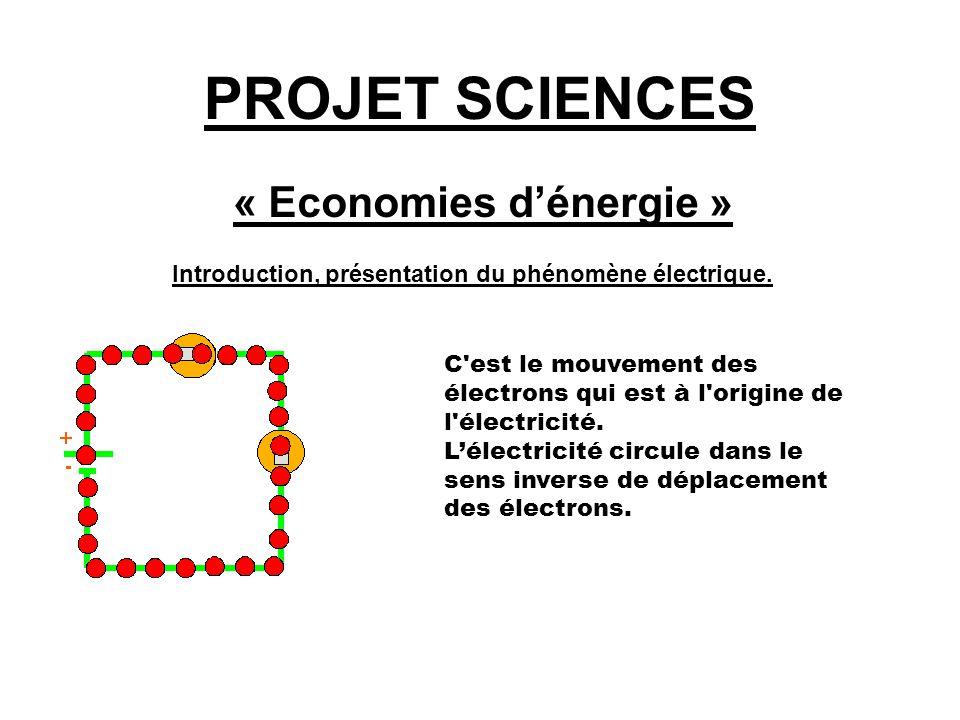 PROJET SCIENCES « Economies d'énergie » Introduction, présentation du phénomène électrique. C'est le mouvement des électrons qui est à l'origine de l'