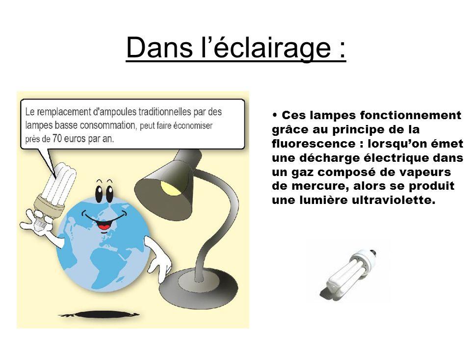 Dans l'éclairage : Ces lampes fonctionnement grâce au principe de la fluorescence : lorsqu'on émet une décharge électrique dans un gaz composé de vape