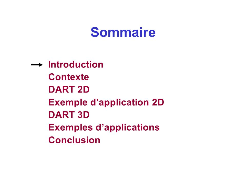 Sommaire Introduction Contexte DART 2D Exemple d'application 2D DART 3D Exemples d'applications Conclusion