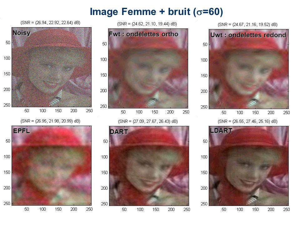 Image Femme + bruit (  =60) Noisy Fwt : ondelettes ortho Uwt : ondelettes redond EPFL DART LDART
