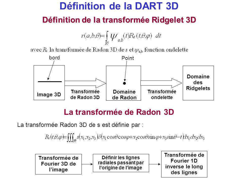 Définition de la DART 3D La transformée Radon 3D de s est définie par : La transformée de Radon 3D Définir les lignes radiales passant par l'origine d